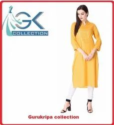 Ladies Rayon Mustard Mirror Embroidery kurti