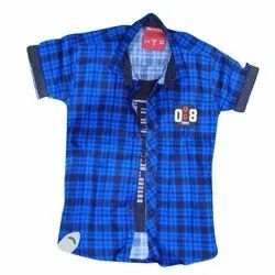Twill Cotton Casual Wear Boys Blue Shirt With T-Shirt