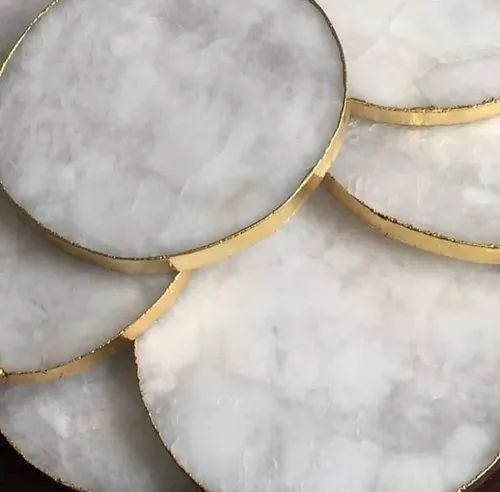White Agate Coasters for Decoration, 50 - 60 G