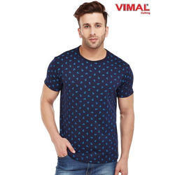 Cotton Party Wear Vimal Navy Blue Printed Round Neck T Shirt for Men