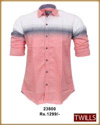 Collar Neck Stripes Mens Shirt