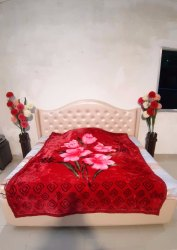 Single Bed Red Warm Blanket
