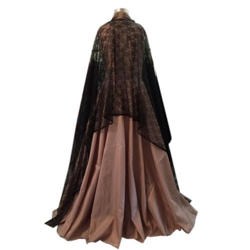 Brown And Black Ladies Stylish Silk Gown