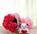 Pink Carnation With Teddy