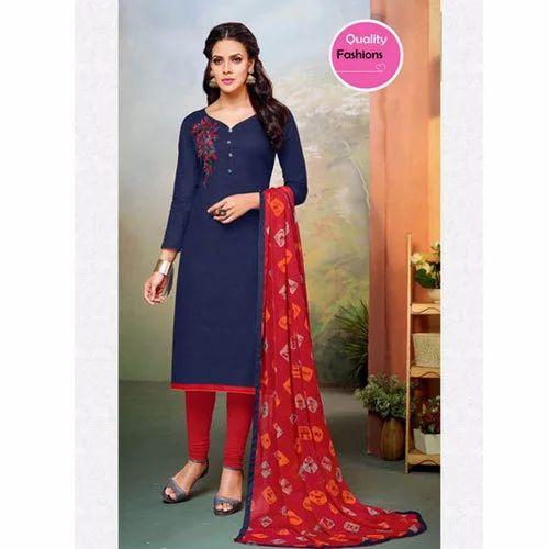 f3d5480506f5 Multi-color Chanderi And Cotton Navy Blue Ladies Suit