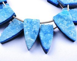Sparkling Druzy 6 Beads 12x24mm Sky Blue Flat Druzy Fancy Pyramid Beads