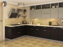Wooden L Shape Modular Kitchen