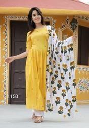 Cotton Yellow Long Kurti