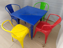 Handicraft Point Metal Powder Coated Restaurant Chair And Table Set