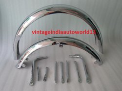 New Bsa A7 A10 Superrocket, Goldstar Front & Rear Chrome Mudguard Set With Stays