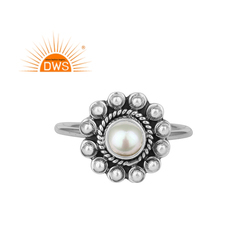 Fresh Water Pearl Gemstone Oxidized Antique Silver Designer Ring