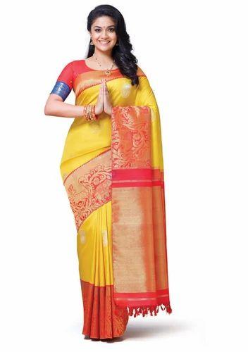 b67a45caa4 Yellow Vivaha Bridal Silk Saree VBBS002, Rs 39995 /piece, Chennai ...