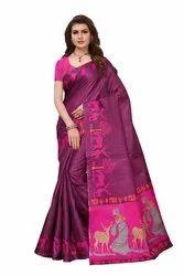 Khadi Cotton Printed Sarees, Length: 6.3 m