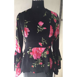Ladies Black Floral Top
