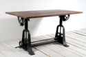 Industrial Draftsman Crank Mechanism Dining Table