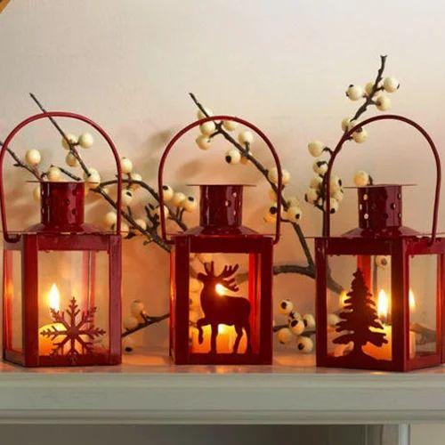 aluminium red christmas lanterns decoration