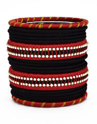 Black and Red Silk Thread Bangle