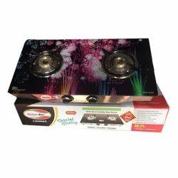 Kitchen Max Black Glass 2 Burner LPG Gas Stove