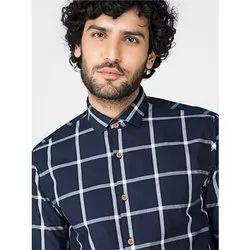 Green Hill Men's Checkered Casual Blue Shirt