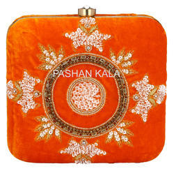 Zari Embroidery and Beaded Evening Party Clutch Purse
