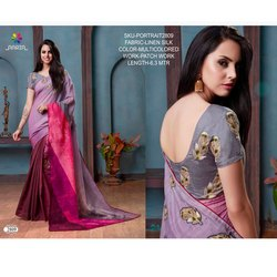 Rachna Linen Silk Patch Work Portrait Catalog Saree For Women 9