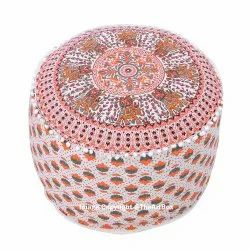 Pleasant Ndian Mandala Ottoman Pouf Cover Seating Furniture Round Footstool Ottoman Poufs 14 X 24 Inch Machost Co Dining Chair Design Ideas Machostcouk