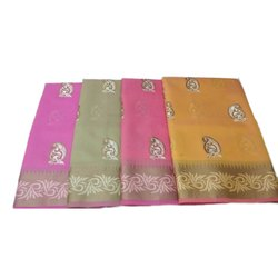 Formal Wear Embroidery Ladies Cotton Embroidered Saree, Packaging Type: Box, 5.5 m (separate blouse piece)