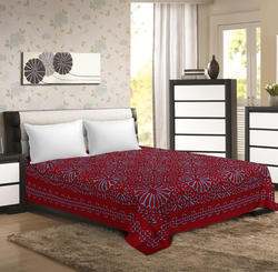 Saavra Red Colored Multicut Work Cotton Double Bedsheet