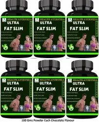 Health Ayurveda Ultra Fat Slim Fat Cutter (Chocolate Flavour) - 100 gms Powder (Pack Of 6)