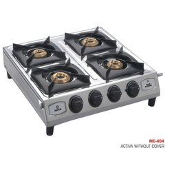 Silver Stainless Steel MC-404 Four Burner Stove for Kitchen