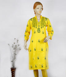 Chikan Hand Embroidered Ladies Kurtis