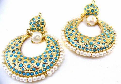 1f0adbe91a1 Kumar Jewels Chandelier Designer Gold Plated Feroza Beads Carved Pearls  Earrings