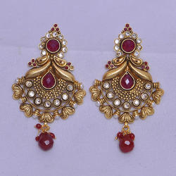 Golden And Maroon Antique Gold Plated Earrings, Packaging Type: Box