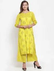 Yellow Foil Printed Kurti