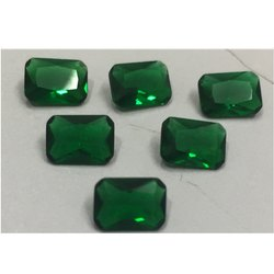 Rectangular Green Glass Gemstone