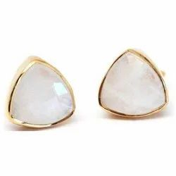 Rainbow Moonstone Trillion Stud Earring