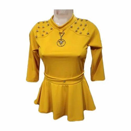 6098c20fed2 Cotton Plain Ladies Yellow Stylish Top