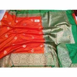 Ladies Banarasi Wedding Silk Saree, 5.5 M (separate Blouse Piece), Packaging Type: Packet
