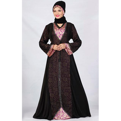 Embroidered Black Lycra Abaya