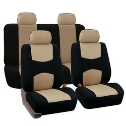 Black & Beige Pu Leather Fabric Seat Cover