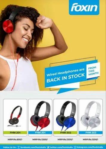 Foxin Headphones with Mic (1y Warranty)