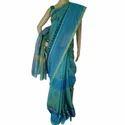 Chanderi Blue Block Printed Saree