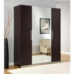 Brown Mirror Wooden Wardrobe For Home