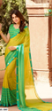 Green Printed Chiffon Sarees, With Blouse Piece