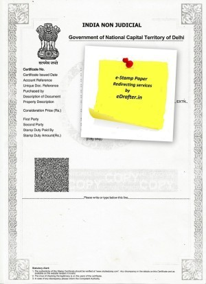 Non Judicial E Stamp Paper