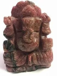 Ganesh Statue of Pink Rhodonite Gemstone