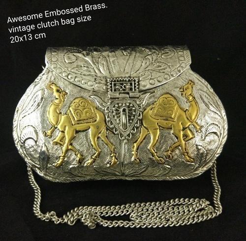 7b97cdefa4a1e Brass Metal NK Handmade Embossed Brass Vintage Clutch Purse Evening Bag