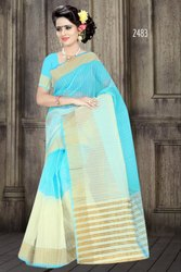 Casual Wear Check 2483 Cotton Sarees, With Blouse Piece, 6.30 Meter