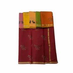 AK Textiles Casual Wear Ladies Crepe Jacquard Saree, 5.5 m (Separate Blouse Piece)