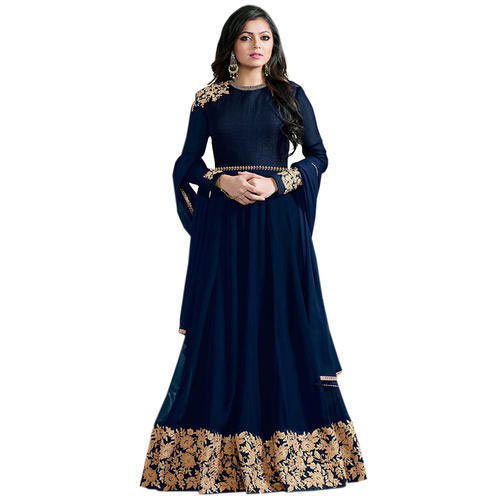 9bbef1db85d 44-45 Embroidered Navy Blue Anarkali Dress Material